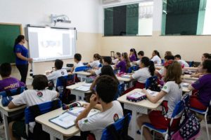 Lousa digital - tela interativa - sala de aula
